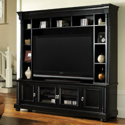 "Welton - Princeton Entertainment Center - Quality & Style is part of the Welton difference. Each item in the Welton line is designed to meet the needs of a demanding customer. High quality and lasting beauty are part of every item we sell. Every home entertainment center is thoughtfully designed to provide families with years of enjoyment and comfortable style. The rich black finish of the Princeton Entertainment Center will compliment a variety of homes. Generous shelves and cabinets provide storage for audio visual equipment. Enhance your entertainment experience with the warm style of the the Princeton, exclusively from Welton USA. Features: -Designed for flat panel TV's.-Brushed nickel hardware.-Protective clear coat resists mars and scratches.-Black carpeted back panel blocks out light.-Wire management.-Generous shelves and cabinets provide storage for audio visual equipment.-Piers and bridge attach easily, no tools required.-Includes audio video Credenza, left and right piers and one bridge.-Constructed of wood solids and wood veneers.-Finish: Black.-Fits most televisions up to 51.25'' wide.-Collection: Princeton.-Distressed: No.-Powder Coated Finish: No.-Gloss Finish: Yes.-Solid Wood Construction: No.-Hardware Material: Metal.-Non Toxic: Yes.-Pull Out TV Swivel: No.-Integrated Flat Screen Mount: No.-Expandable: No.-Media Storage: Yes.-Number of Exterior Shelves: 11.-Number of Interior Shelves: 1.-Dovetail Joints: Yes.-Tongue and Groove: No.-Number of Cabinets: 4.-Handle Design: Traditional pull.-Interchangeable Handles: Yes.-Ventilation Features: Ventilation slots.-Removable Back Panel: Yes.-Lighted: No.-Weight Capacity: 200 lbs.-Swatch Available: No.-Commercial Use: No.-Eco-Friendly: Yes.Specifications: -EPP Compliant: No.-ISTA 3A Certified: Yes.-General Conformity Certificate: Yes.Dimensions: -Credenza: 24'' H x 76'' W x 20'' D.-Overall Height - Top to Bottom: 78"".-Overall Width - Side to Side: 77.25"".-Overall Depth - Front to Back: 20"".-Overall Product Weight: 242 lbs.-TV Compartment Height: 36.5"".-TV Compartment Width - Side to Side: 50"".-TV Compartment Depth - Front to Back: 17"".-Leg Height: 2"".Assembly: -Assembly Required: Yes.-Tools Needed: Allen wrench.Warranty: -Product Warranty: 1 Year."