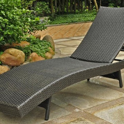International Caravan - 25 in. Multi Positional Chaise Lounge - Contemporary style. Beautiful and unique European design. Equipped with a rust free aluminum frame. All weather resistant. UV light fading protection. Four multi position for various comfort zones. Made from premium outdoor wicker resin. Aluminum antique black color. Assembly required. 25 in. W x 76 in. D x 15 in. H (30 lbs.)