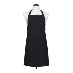 KAF Home - Black Utility Apron - This classic apron comes in a variety of bold, vibrant colors. Front utensil pockets for convenience around the kitchen. Move freely and comfortably in these aprons. Available in both cinched and d-ring styles.