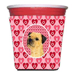 Caroline's Treasures - Border Terrier Valentine's Love and Hearts Red Solo Cup Hugger - Fits red solo cup or large Dunkin Donuts / Starbucks ice coffee cup. Collapsible Foam. (16 oz. to 22 oz. Red solo cup) Toby Keith made the cups more popular with his song. We make them nicer to carry around. The top of the cup is still exposed to add your name with a marker too. Permanently dyed and fade resistant design. Great to keep track of your beverage and add a bit of flair to a gathering. Match with one of the insulated coolers or coasters for a nice gift pack. Wash the hugger in your dishwasher or clothes washer. Design will not come off.