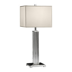 "Inviting Home - Nickel and Crystal Table Lamp - Solid crystal and lacquered silver-plated table lamp 13"" x 30""H Solid crystal and lacquered silver-plated table lamp. Crystal lamp has a square base and square hardback silk shade. Max. 150 watts. shade size: 13"" top 13"" bottom 10"" high"