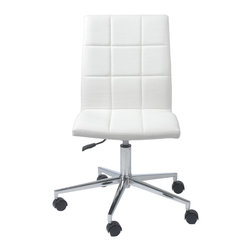 Eurostyle - Cyd Office Chair-White - Roll out this sleek office chair to conduct your business in style. The seamless design allows you to easily maneuver around, plus when the day is done, you can keep the chair flush under the desktop, creating a neater workstation.