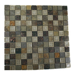 "Roman Collection Emperial Slate W/ Deco Glass Tile - Roman Collection Emperial Slate W/ Deco 1x1 Glass Tile TThese gorgeous mosaic are hand pressed and hand filled. Each glass chip are hand pressed and then filled with colored crushed glass chips to create an intensely faceted surface that capture and reflects light, making it look like thousand tiny diamonds. Great to use as a back splash; as well as th any decorated spot in your home. Chip Size: 1x1 Color: Cream, Forest Green and Multicolor Material: Slate and Porcelain Shell Filled with Crushed Glass Finish: Crackled Glass and Colored Chips Enveloped in Porcelain and Polish Sold by the Sheet - each sheet measures 12""x12x (1 sq. ft.) Thickness: 8mm Please note each lot will vary from the next."