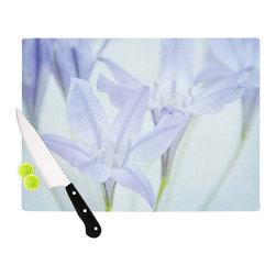 "Kess InHouse - Iris Lehnhardt ""Triplet Lily"" Flower Blue Cutting Board (11"" x 7.5"") - These sturdy tempered glass cutting boards will make everything you chop look like a Dutch painting. Perfect the art of cooking with your KESS InHouse unique art cutting board. Go for patterns or painted, either way this non-skid, dishwasher safe cutting board is perfect for preparing any artistic dinner or serving. Cut, chop, serve or frame, all of these unique cutting boards are gorgeous."