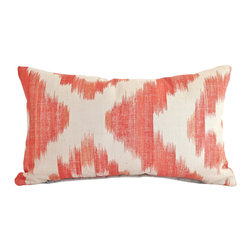 The Pillow Studio - Both Sides- Lee Jofa Lumbar Pillow Cover in Orange and Oatmeal Ikat De Lin Linen - This Lee Jofa fabric is so fun-- the bold orange and the ikat pattern are ideal to highlight on a pillow.