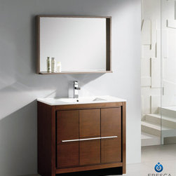 Fresca - Fresca Allier 36-inch Wenge Brown Modern Bathroom Vanity with Mirror - The Fresca 36-inch Allier is a sleek,modern free standing vanity with plenty of storage space. This set is accented nicely with a matching mirror with small shelf with a perfect balance of hues and textures.