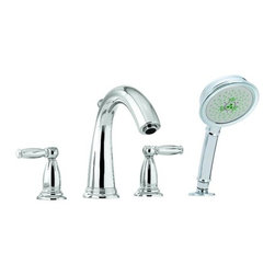Hansgrohe - Swing C Roman Tub Filler w/ Diverter, Lever Handles/ Hand Shower Less Valve - Swing C Roman Tub Filler Faucet with Diverter, Metal Lever Handles and Multi Function Hand Shower Less ValveLever handles Solid brass Fast and easy installation Handshower with 2-spray modes: full and massageTub spout with diverter Valve required - Must be ordered separately