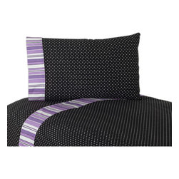 Sweet Jojo Designs - Sweet JoJo Designs 200 Thread Count Kaylee Bedding Collection Cotton Sheet Set - These sheets use black and white mini polka dot 100-percent cotton fabric with designer stripe trim. Made to coordinate with the matching Sweet JoJo bedding set, this sheet set is machine washable for easy care.