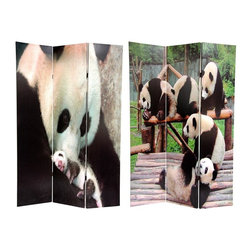 Oriental Unlimited - 6 ft. Tall Panda Bears Double Sided Room Divi - One double-sided divider, both sides shown in image. Wood frame encased in durable canvas fabric. Adorable panda bears shown on each side. Blocks light and provides privacy. Multi-purpose home decor accent; great for dividing space, redirecting foot traffic, hiding unsightly areas or providing a backdrop. 15.88 in. W x 71 in. H (per panel)Pandas have been a prized subject of nature photographers for many years. They are also popular with adults and children alike. This wonderful screen shows a stunning close up image of a mother with her cub as well as a group of pandas relaxing in their habitat.