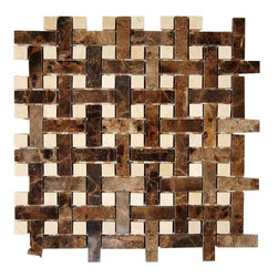 "Basket Weave Dark Emperador & Marfil Marble, Sheet - Basket Weave Dark Emperidor 1/2""x2"" With Crema Marfil Dot 1/2""x1/2"" Marble Tile These hand-made window patterns are made from stone mosaics, each piece fits into the next like a perfect puzzle. It's stunning design with its intricate basket weave pattern will bring warmth and a natural ambiance to your home. The mesh backing not only simplifies installation, it also allows the tiles to be separated which adds to their design flexibility. Chip Size: 9/16"" x 2"" Dot: 9/16""x9/16"" Color: Dark Emperidor and Crema Marfil Material: Marble Finish: Polished Sold by the Sheet - each sheet measures 12"" x 12"" (1 sq. ft.) Thickness: 8mm Please note each lot will vary from the next."