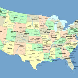 Wallmonkeys Wall Decals - Usa Map with Names of States and Cities Wall Mural - 18 Inches W x 14 Inches H - Easy to apply - simply peel and stick!