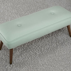 None - Kelly 48-inch Mid-century Aqua Bonded Tufted Bench - This beautiful bonded leather bench offers mid-century modern styling. The metal foot caps and big button tufts seal the deal on this retro bench. This bench features slid wood legs with metal caps,upholstered in a retro aqua colored bonded leather.