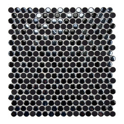 Somertile - SomerTile 11.25x12-inch Posh Penny Round Black Porcelain Mosaic Tiles (Set of 10 - Give your bathroom a new look quickly and easily with this stylish porcelain mosaic tile. You can easily install the tile within a few hours and give your bathroom a facelift without investing a lot of time. The black color masks dirt and grime well.