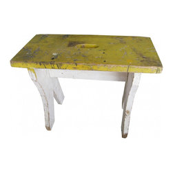English Cricket Bench - Rustic yellow and white cricket stool from England