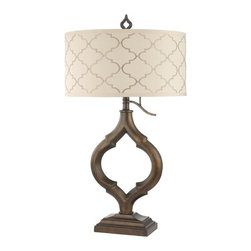 Marrakesh Table Lamp with Cream Drum Shade and Three-Way Switch -