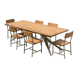 """Sierra Living Concepts - Modern Rustic Wood & Iron 7 Piece Dining Table Set - Our Modern Rustic 7 piece dining set combines sleek geometrical lines forged in iron with the natural beauty of solid hardwood. This 82"""" long table is perfect in the dining room or conference room with a smart design that frees up all the corners."""
