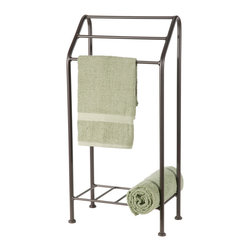 Monticello Iron Bath Towel Stand - Stone County 900-230 Monticello Iron Bath Towel Stand is simple and quite a popular product at Stone County Ironworks. Its truly simple design works well in any environment; it features three tiers and a lower shelf for folded towels or roll-ups. - Installation Required: Yes.