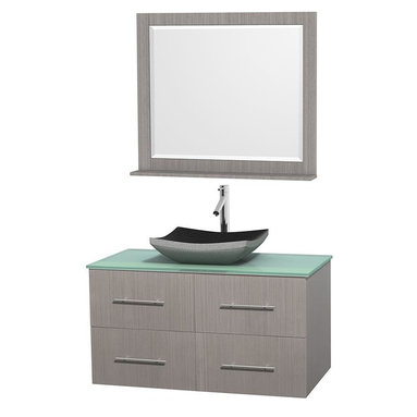 Wyndham Collection - 42 in. Single Bathroom Vanity in Gray Oak, Green Glass Countertop, Altair Black - Simplicity and elegance combine in the perfect lines of the Centra vanity by the Wyndham Collection . If cutting-edge contemporary design is your style then the Centra vanity is for you - modern, chic and built to last a lifetime. Available with green glass, pure white man-made stone, ivory marble or white carrera marble counters, with stunning vessel or undermount sink(s) and matching mirror(s). Featuring soft close door hinges, drawer glides, and meticulously finished with brushed chrome hardware. The attention to detail on this beautiful vanity is second to none.