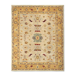 Frontgate - Kopru Hand-Tufted Area Rug - 100% hand-spun wool. Ancient pot-dying color technique. 100% cotton backing. The geometric design of our stunning Kopru Hand-Tufted Area Rug adapts beautifully to both contemporary and traditional interiors. The rug captures the authentic look and feel of the decorative carpets made in the late 19th century by nomadic Turkish weavers in the region of Anatolia.  .  .  . Imported. Rug designs will vary by size.