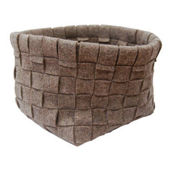The Felt Store - Gray Woven Basket 11 x 11 x 9.5 Inch - Our large woven baskets are made of strips of gray industrial felt, pieced together in a beautiful traditional basket weave by hand. The large basket measures 11 inches x 11 inches(279.4mm x 279.4mm) and is 9.5 inches(241.3mm) high. Use it to hold magazines, books, newspapers, toys, diapers, or just about anything! It is perfect for your home or office.