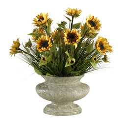 "D&W Silks - Artificial Sunflowers With Mixed Grasses in Oval Pedestal Urn - It's amazing how much adding a plant can change the look of a room or decor, but it can be difficult if your space is not conducive to growing plants, or if you weren't exactly born with a ""green thumb."" Invite the beauty of nature into your home without all the upkeep with this maintenance-free, allergy-free arrangement of artificial sunflowers with mixed grasses in an oval pedestal urn. This is not a living plant."