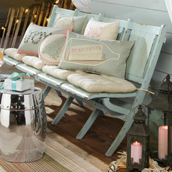 Beach Cottage Bench - Picture perfect. Ease into summer with a classic, folding four-seater bench. Indoors or out, the weathered look of the blue painted wood will transport you to simpler times. Beach cottage style at its best.