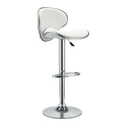 LexMod - Saddleback Bar Stool in White - Ride new vistas and conquer all obstacles with this adventure packed bar stool. Gird yourself as an underlying force of light-filled prowess bursts from this pedestal of strength. Celebrate special moments and enliven casual repartee with the vinyl wave seat and polished chrome base.