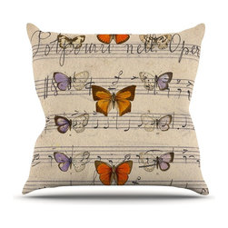 """Kess InHouse - Suzanne Carter """"Butterfly Opera"""" Music Tan Throw Pillow (Outdoor, 20"""" x 20"""") - Decorate your backyard, patio or even take it on a picnic with the Kess Inhouse outdoor throw pillow! Complete your backyard by adding unique artwork, patterns, illustrations and colors! Be the envy of your neighbors and friends with this long lasting outdoor artistic and innovative pillow. These pillows are printed on both sides for added pizzazz!"""