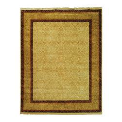 Frontgate - Clancy Wool Area Rug - Created using time-honored techniques passed down from master tribal weavers. Lush, thick pile. Woven from pure, hand-spun wool that holds rich and enduring color. Created by the world-renowned Safavieh company. Easy to care for. The Clancy Wool Area Rugs are an outstanding example of a city rug, a tightly woven carpet that has been hand-knotted in the Persian tradition. The cream field of this beautifully detailed carpet is dense with subliminal scalloped medallions contained in a graphic rust and purple border. . .  . . . Imported. Rug designs may vary by size.