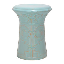 Safavieh - Light Aqua Imperial Scroll Garden Stool ACS4521C - Adapted from an ancient Chinese palace gate, the motif of the Imperial Scroll Garden Stool conjures images of meditation perches in serene Asian gardens. Crafted of high fired ceramic with light aqua glaze, this versatile piece can be used as extra seating, a side table or plant stand indoors or out.