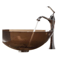 Kraus - Kraus Clear Brown Glass Vessel Sink and Ventus Faucet Chrome - *Add a touch of elegance to your bathroom with a glass sink combo from Kraus