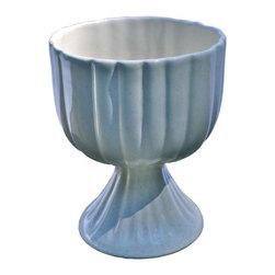 "Pedestal Vase - Vintage Pfaltzgraff Pedestal Vase. White. 7""h x 5.5""w"