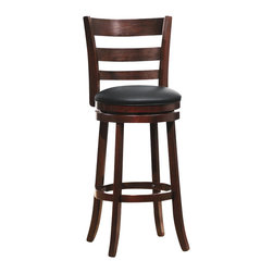 Homelegance - Homelegance Edmond Swivel Pub Chair in Dark Cherry (Set of 2) - Homelegance - Bar Stools - 1144E29S - Expanding the seating availability in your entertainment or dining space has become much less complicated with the Edmond Collection. Offered in a dark cherry finish with black bi-cast seats, the varied designs of the chair backs allow for placement in a multitude of design settings. From casual to formal, the 24 and 29 barstools offer the best selection out there.