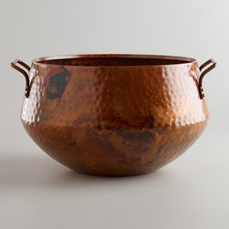 Hammered Copper Bucket - This bucket would be just as pretty filled with firewood as it would filled with pumpkins or pinecones. I love the warmth and texture that hammered copper brings to decor this time of year.