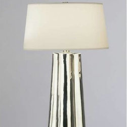 Robert Abbey - Robert Abbey 435 Wavy 1 Light Table Lamp in Silver with Mercurty Cased Glass 435 - Wavy 1 Light with Mercurty Cased Table Lamp in Silver.Bulb Type: Incandescent Collection: Wavy Finish: Silver Glass: Mercury Height: 26-1 2 Number of Lights: 1 Origin: China Style: Contemporary Switch Type: Full Range Dimmer Wattage: 100 Weight: 8