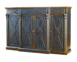 Hooker Furniture - Four-Door Three -Drawer Credenza, Ebony and Drift - You'll have lots of storage in a glorious package of four doors and three drawers! Stack your linens and store your silver so everything will be at your fingertips. There are reversible shelves behind the doors for wine storage too. A place for everything and everything in its place.