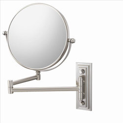 Aptations - Mirror Image 20875 Classic Wall Mirror Nickel - Mirror Image 20875 Classic Double Arm Wall Mirror 5X / 1X Br. Nickel
