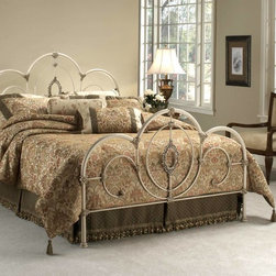 Hillsdale - Victoria Panel Bed w Filigree Oval Centerpiec - Choose Bed Size: TwinStep back into the past with this Victoria Antique White Bed with Filigree Oval Centerpiece.  With bold yet elegant decorative features this bed exudes class and old style.  The ornate castings offer a unique quality while the sturdy metal frame offers the security of a comfortable secure sleep. * Includes headboard, footboard, rails and bed frame. Mattress not included. Ornate castings. Filigree Oval centerpiece. Satin Beige bed frame. Twin: 39.75 in. L x 49.5 in. H. Full: 54.75 in. L x 49.5 in. H. Queen: 61.75 in. L x 49.5 in. H. King: 77.75 in. L x 49.5 in. HShabby yet chic is all the rage and the Victoria bed is the epitome of this popular style. Surrounded by ornate castings and sweeping scrollwork, the centerpiece of this bed is the lovely filigree oval. The Victoria bed is the best of both worlds, classic antique styling without the lofty antique price.