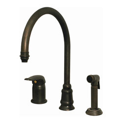 Whitehaus - Evolution Three Hole Faucet (Brushed Nickel) - Finish: Brushed NickelIndependent single lever mixer. Gooseneck swivel spout. Fluted solid brass side spray. 9.5 in. L x 7.13 in. H. Warranty