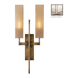 Fine Art Lamps - Perspectives Silver Sconce, 789950-2GU - Beautifully designed and exquisitely detailed, this wall sconce looks like an architect's custom design, but is available for use in your own entry, hallway or bath. The generously proportioned base sports a golden bronze patina or a muted silver leaf, and is topped with two-tone shades crafted from seductive organza.