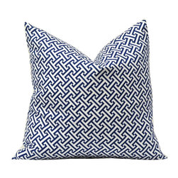 Erin Blue Geometric Decorative Pillow - Make sure your room doesn't feel too stuffy or uptight by layering on different patterns to bring a young vibe to the space. Sticking to one color scheme will ensure continuity.