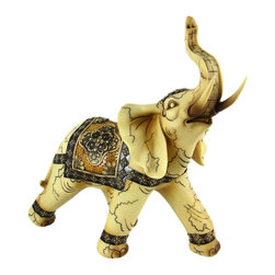 Large Antiqued Finish Indian Elephant Statue - Stunning - Made of cold cast resin, this stunning Indian elephant statue adds a touch of style to wherever you display it. Measuring 14 inches tall, 6 1/2 inches deep, and 13 1/2 inches long, it has a wonderful bone-like finish, and is hand-painted with brown and black enamels. This statue also makes a great present for the holidays or for housewarming gifts, as elephants are reputed to bring good luck. It looks great on bookshelves and on top of mantels or tables.