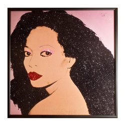 """Glittered Diana Ross Warhol Album - Glittered record album. Album is framed in a black 12x12"""" square frame with front and back cover and clips holding the record in place on the back. Album covers are original vintage covers."""