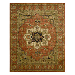 """Nourison - Nourison Jaipur JA33 (Brick) 9'6"""" x 13'6"""" Rug - The Nourison Jaipur collection features a distinctive assortment of traditional designs, handmade from the finest 100% premium quality wool. Nourison's own unique herbal-wash process creates the elegant look of a priceless antique. With their lavish pile and the silk-like sheen of their lanolin-rich wool, Jaipur Collection rugs will bring a dramatic fashion accent to any room setting."""