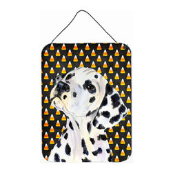 Caroline's Treasures - Dalmatian Candy Corn Halloween Portrait Aluminium Metal Wall Or Door Print - Great for inside or outside these Aluminum prints will add a special touch to your kitchen, bath, front door, outdoor patio or any special place.  12 inches by 16 inches and full of color.  This item will take direct sun for a while before it starts to fade.  Rust and Fade resistant.  Aluminum Print with Hanging Rope.  Rounded Corners.
