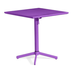 ZUO - Big Wave Square Folding Table - Purple - Adds a bold dash of color to any outdoor space. The Big Wave Folding Table series is made of epoxy coated steel that's durable enough for any climate. Easily folds up for storage when not in use. Comes in white, purple, lime or aqua. Sold separately.