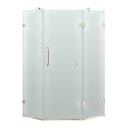 """VIGO Industries - VIGO 36 x 36 Frameless Neo-Angle 3/8"""" Shower, Frosted/Chrome, Right Door - Both dramatic and space-saving, the VIGO frameless neo-angle shower enclosure creates a beautiful focal point for your bathroom."""