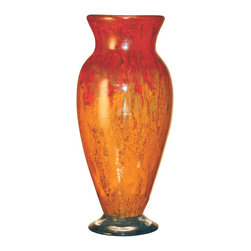 "Couleur - Orange Glow Glass Vase - Handcrafted by artisan glass blowers the Orange Glow Glass Vase is a wonderfully decorative and functional art glass accessory.  Because this is made of hand blown glass measurements are approximate - Each item will vary slightly in size and color.Specifications Dimensions: Are approximate because of the handmade nature of this product. (length x width x height) Overall: L 6"" x W 6"" x H  16"" (approximately)Made in: Mexico (MEX)  Style: Room: Living Room, Dining Room, OfficeUse: Decoration Only - Home Accent, Table Top Decor, Wall Decor, Shelf DecorIndoor / Outdoor: IndoorCare: Wipe clean with a soft damp cloth."
