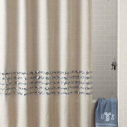 """Dransfield & Ross House - Condotti Shower Curtain - BLUE - Dransfield & Ross HouseCondotti Shower Curtain DetailsBy Dransfield & Ross House.Made of natural linen and satin ribbon.Dry clean.72""""Sq.Liner not included.Imported."""