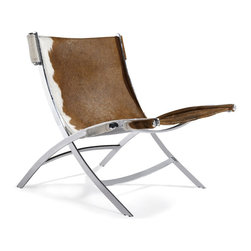 Advanced Interior Designs - Cowhide PK22 Style Easy Chair - Cowhide PK22 Style Easy Chair is a gorgeous chair, brilliantly conceived and executed, with a prominent place in 20th century design. Constructed of polished chrome frame and Brazilian cowhide upholstery.